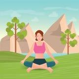 La donna calma sta facendo l'yoga e la meditazione illustrazione vettoriale