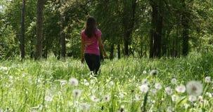 La donna cammina attraverso il legno stock footage