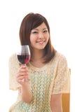 La donna che beve il vino Fotografia Stock