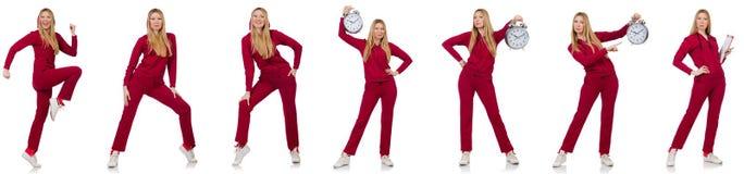 La donna che fa gli esercizi isolati sul bianco Fotografie Stock Libere da Diritti