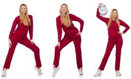 La donna che fa gli esercizi isolati sul bianco Fotografia Stock