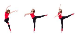 La donna che fa gli esercizi su bianco Immagini Stock Libere da Diritti