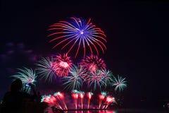 la donna che guarda/richiede un nuovo anno del fuoco d'artificio della foto, bello colo Fotografia Stock