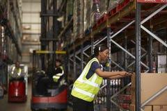 La donna che lavora in un magazzino esplora la scatola con un lettore di codici a barre Immagini Stock Libere da Diritti