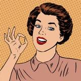 La donna che mostra a pozzo giusto di gesto la qualità è illustrazione di stock