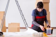 La donna che prepara per il lavoro della carta da parati Fotografie Stock Libere da Diritti