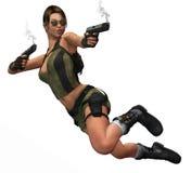 la donna che salta con il fumo delle pistole Fotografie Stock