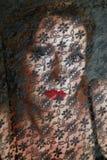 La donna chiusa da un merletto Fotografia Stock