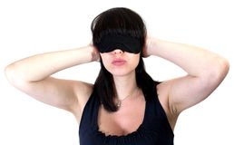 La donna ciecamente ed orecchie Fotografia Stock
