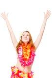 La donna in collana del fiore con le sue mani si è alzata su un bianco Immagini Stock Libere da Diritti
