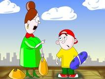La donna comunica con ragazzo. Immagini Stock Libere da Diritti