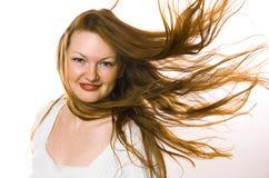 La donna con capelli lunghi Fotografia Stock Libera da Diritti