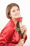 La donna con colore rosso è aumentato Immagini Stock Libere da Diritti