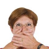 La donna con cosegna la bocca Immagini Stock Libere da Diritti