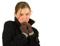 La donna con i guanti e l'inverno copre, il freddo, l'inverno Immagini Stock Libere da Diritti