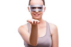La donna con i vetri techni isolati su bianco Immagine Stock