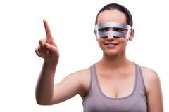 La donna con i vetri techni isolati su bianco Fotografie Stock Libere da Diritti