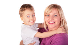 La donna con il bambino affronta il primo piano 4 Immagini Stock Libere da Diritti