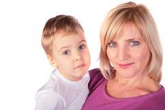 La donna con il bambino affronta il primo piano Fotografia Stock Libera da Diritti