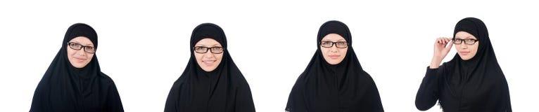 La donna con il burqa musulmano isolata su bianco Fotografie Stock