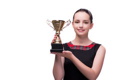 La donna con il premio della tazza su bianco immagine stock libera da diritti
