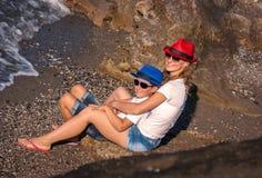 La donna con il ragazzo Fotografia Stock