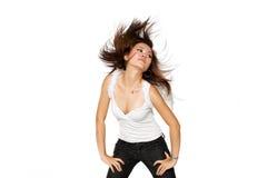 La donna con l'angelo traversa scagliandole i capelli obliquamente Immagine Stock