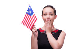 La donna con la bandiera americana isolata su bianco Fotografia Stock Libera da Diritti