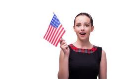 La donna con la bandiera americana isolata su bianco Fotografie Stock Libere da Diritti