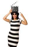 La donna con la valvola di film su bianco Immagine Stock