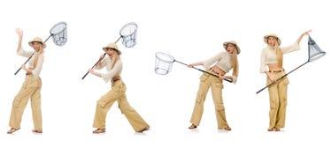 La donna con rete di cattura su bianco Fotografia Stock Libera da Diritti