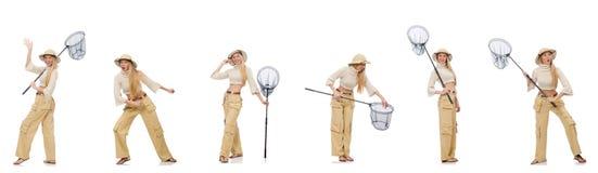 La donna con rete di cattura su bianco Immagine Stock