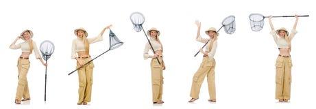 La donna con rete di cattura su bianco Fotografie Stock Libere da Diritti