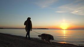 La donna con un cane sulla spiaggia Un declino al mare video d archivio
