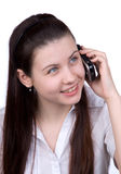 La donna con un telefono cellulare Fotografia Stock Libera da Diritti
