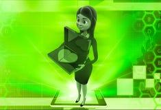 la donna 3d con borken il cuore sull'illustrazione della tastiera del computer portatile Fotografia Stock Libera da Diritti
