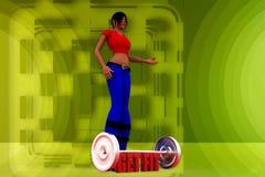 la donna 3D ottiene l'illustrazione adatta Fotografia Stock