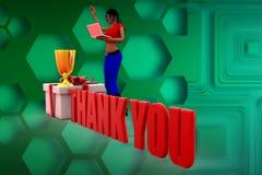 la donna 3d ringrazia l'illustrazione Fotografia Stock