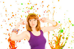 La donna dai capelli rossa con variopinto spruzza Fotografia Stock