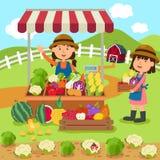 La donna del fumetto dell'illustrazione vende gli ortaggi freschi e la frutta illustrazione vettoriale