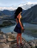 La donna del fumetto esamina il River Valley nelle montagne Fotografia Stock