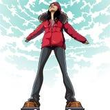 La donna del fumetto nel godere dei vestiti dell'inverno sta affrontando il cielo illustrazione vettoriale