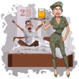 La donna del fumetto in uniforme del cammuffamento si congratula un uomo il 23 febbraio immagine stock