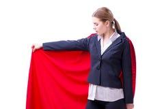 La donna del supereroe isolata su fondo bianco Immagine Stock Libera da Diritti