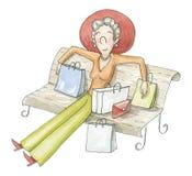 La donna dell'acquerello si siede su un banco con i pacchetti illustrazione di stock