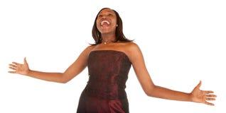 La donna dell'afroamericano Overjoyed circa qualcosa Immagine Stock Libera da Diritti