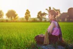 La donna dell'agricoltore che si siede in riso verde ha archivato al tramonto, Tailandia Immagine Stock