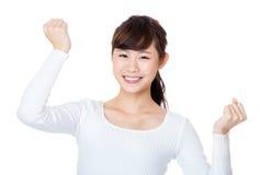 La donna dell'Asia incoraggia su Immagine Stock