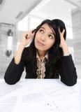 La donna di affari è confusa Fotografia Stock Libera da Diritti