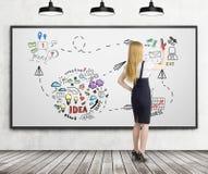 La donna di affari bionda sta disegnando lo schizzo di idea di affari su whiteboar Immagini Stock